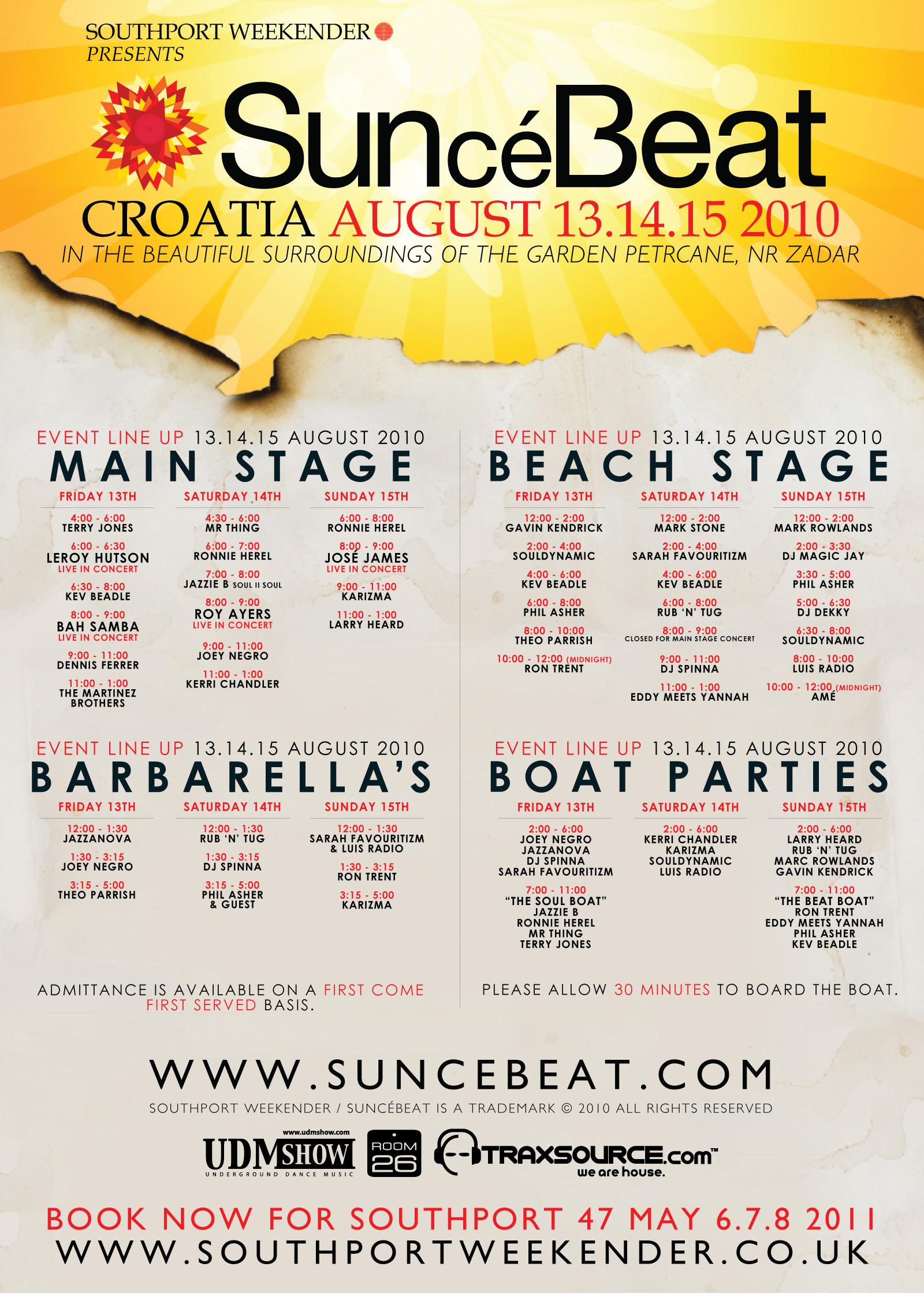 Timetables – SunceBeat Festival Croatia, The Garden Tisno
